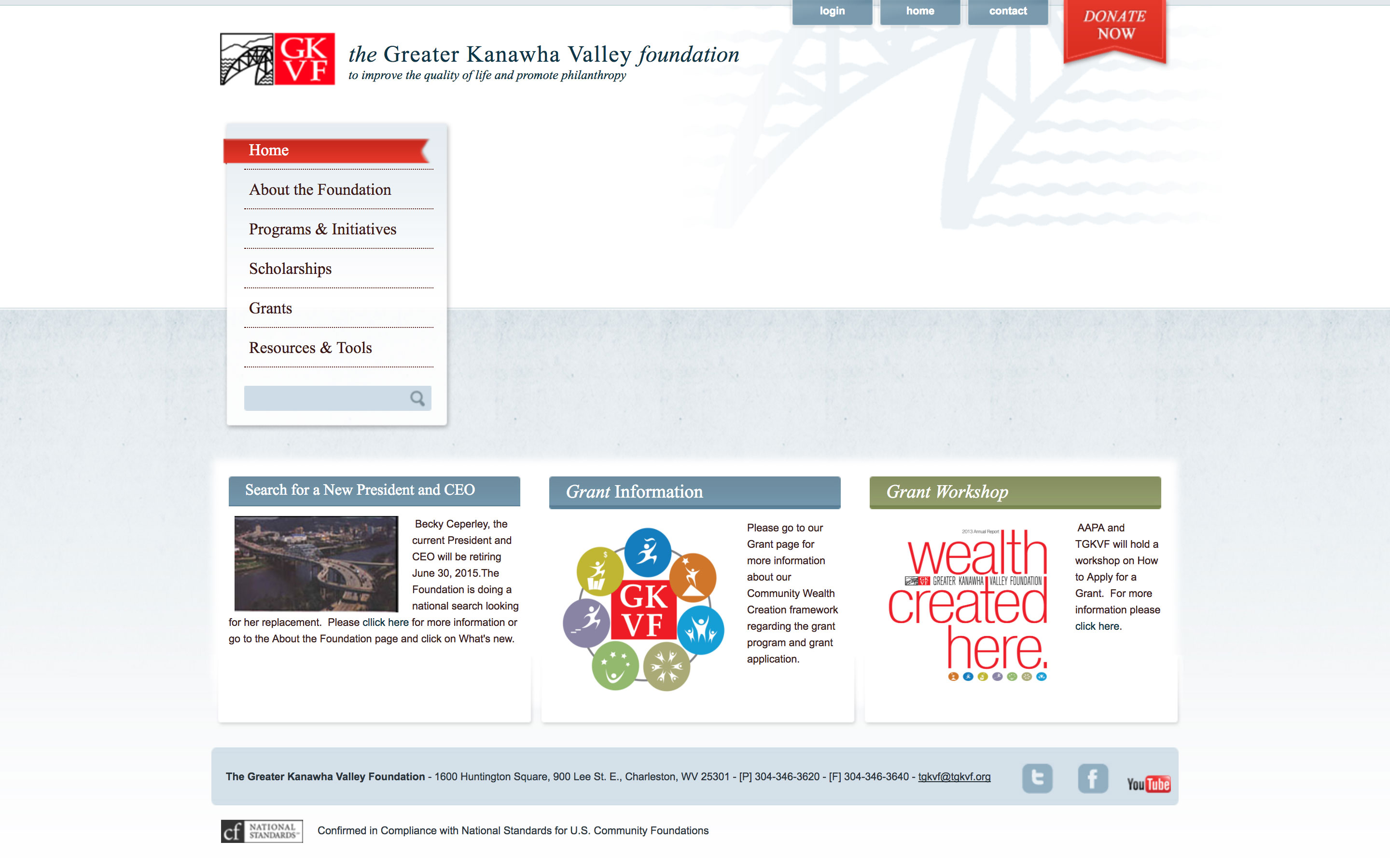 The Greater Kanawha Valley Foundation Home Page Website Before Using Cucumber and Co West Virginia Web Design