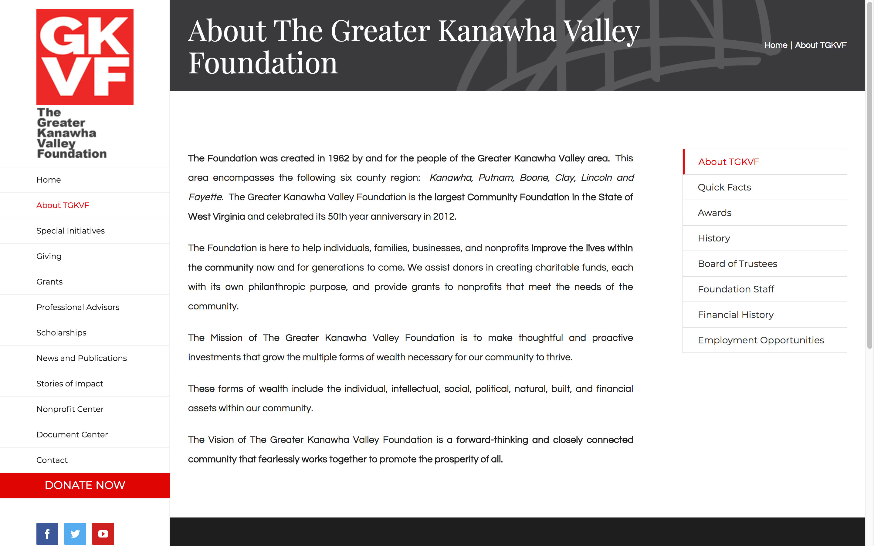 The Greater Kanawha Valley Foundation About Us Page Best Websites in WV Charleston Huntington Beckley Princeton Web Design