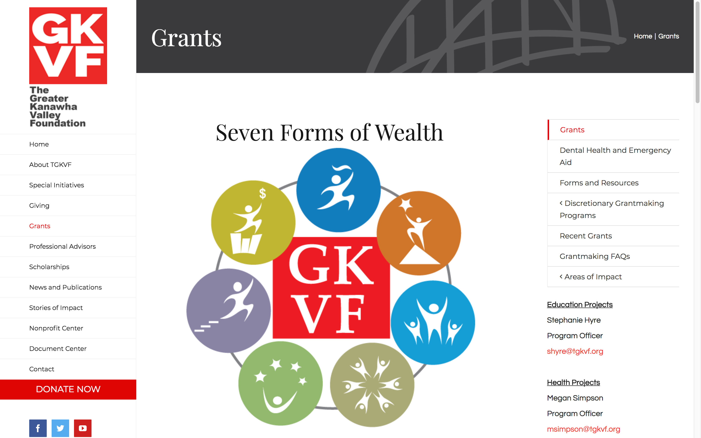 The Greater Kanawha Valley Foundation Grants Page Best Websites in WV Charleston Huntington Beckley Princeton Web Design