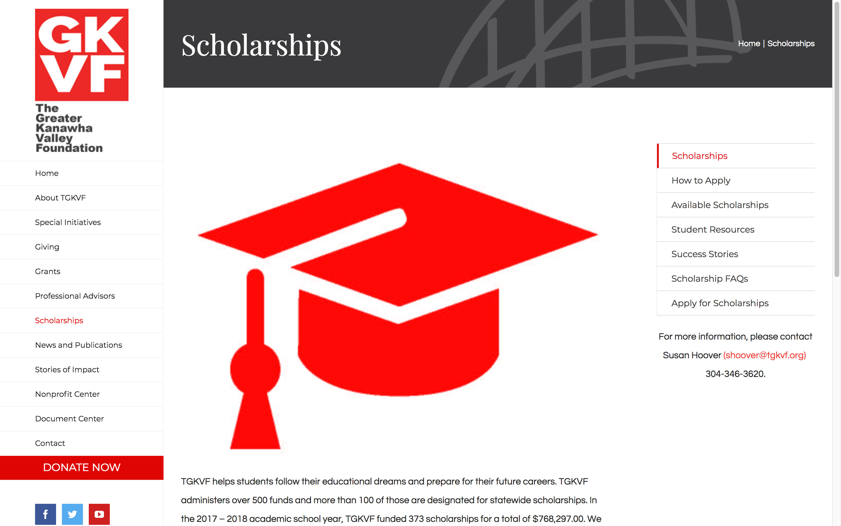 The Greater Kanawha Valley Foundation Scholarships Page Best Websites in WV Charleston Huntington Beckley Princeton Web Design