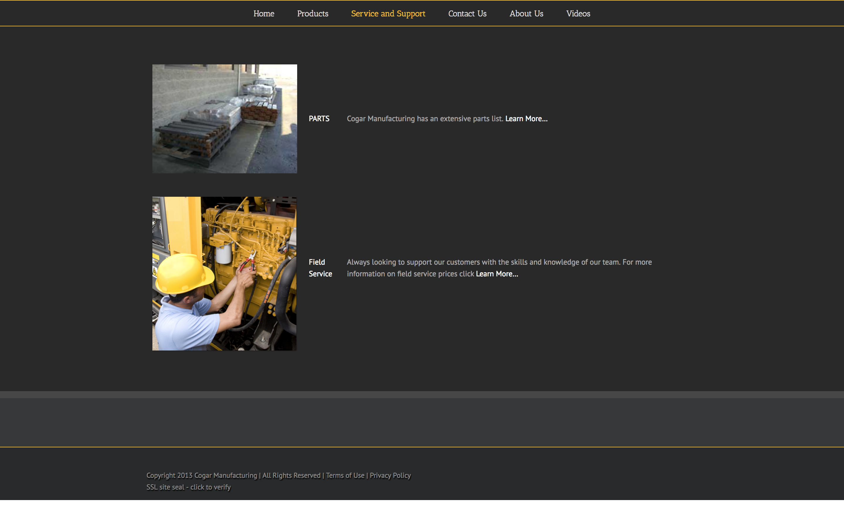 Cogar Manufacturing Website Service and Support Before Photo Cucumber & Co WV Web Design