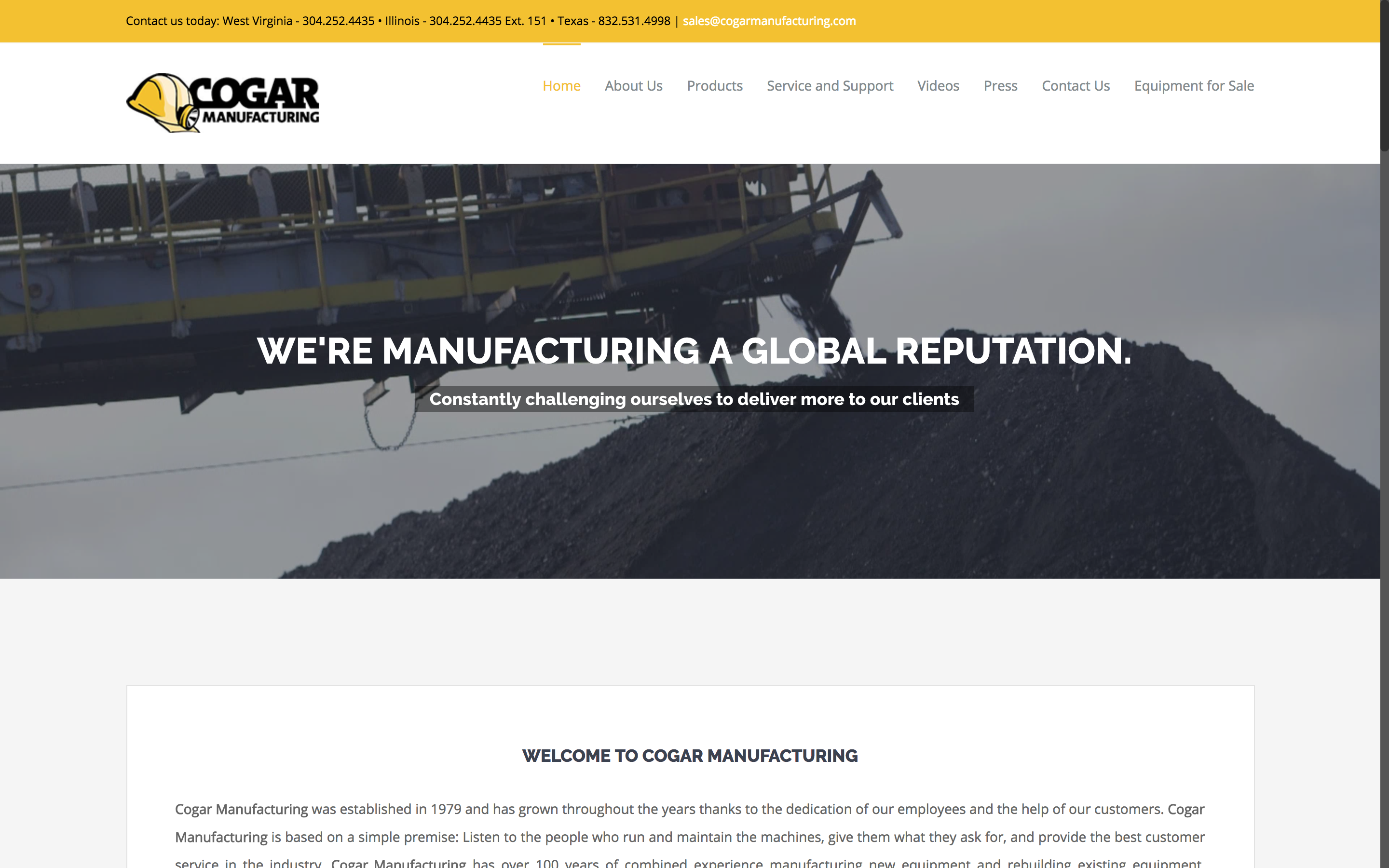 Cogar Manufacturing Home Page West Virginia Web Design by Cucumber & Company Best websites in WV