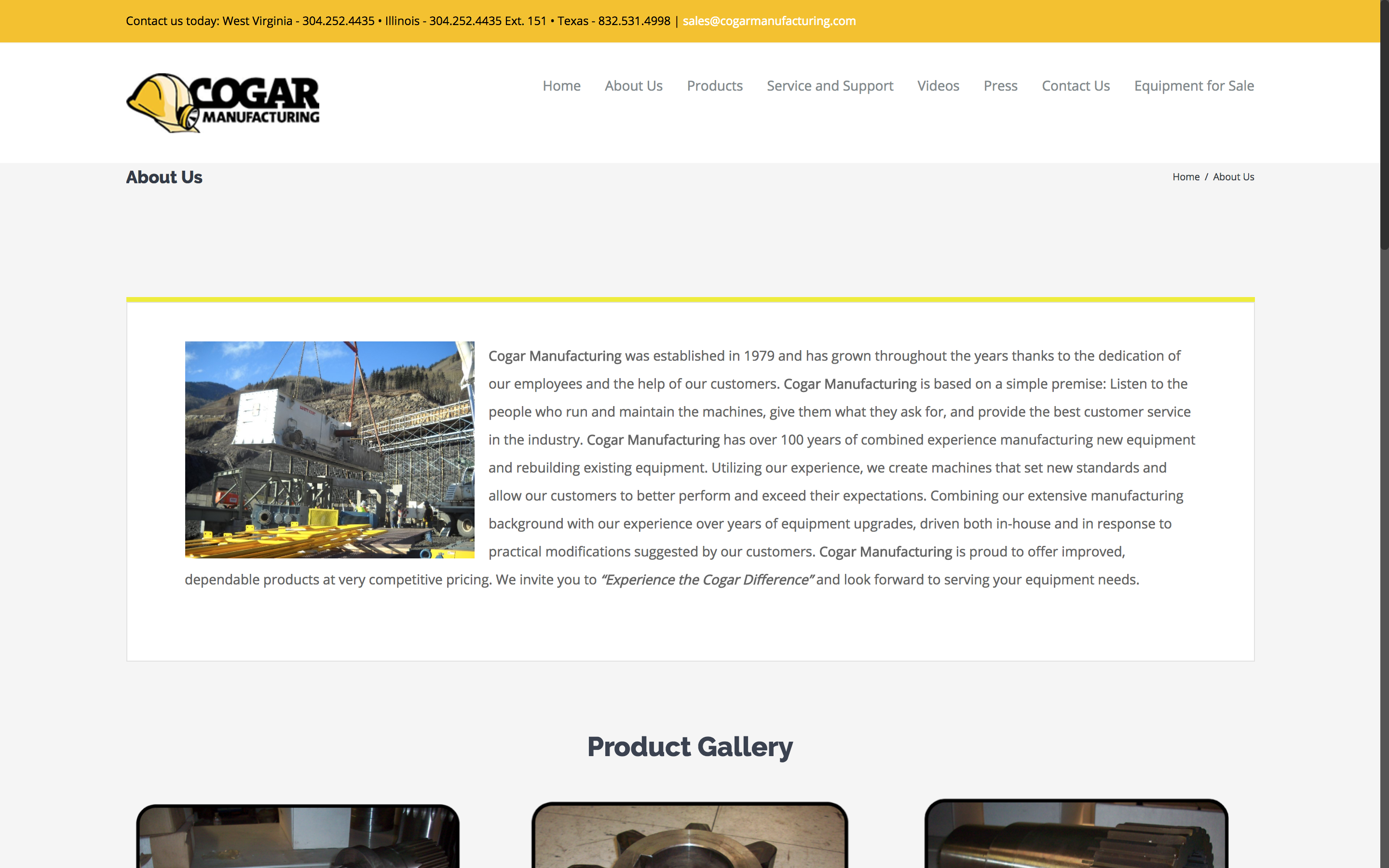 Cogar Manufacturing About Us Page West Virginia Web Design by Cucumber and Company Best websites in WV