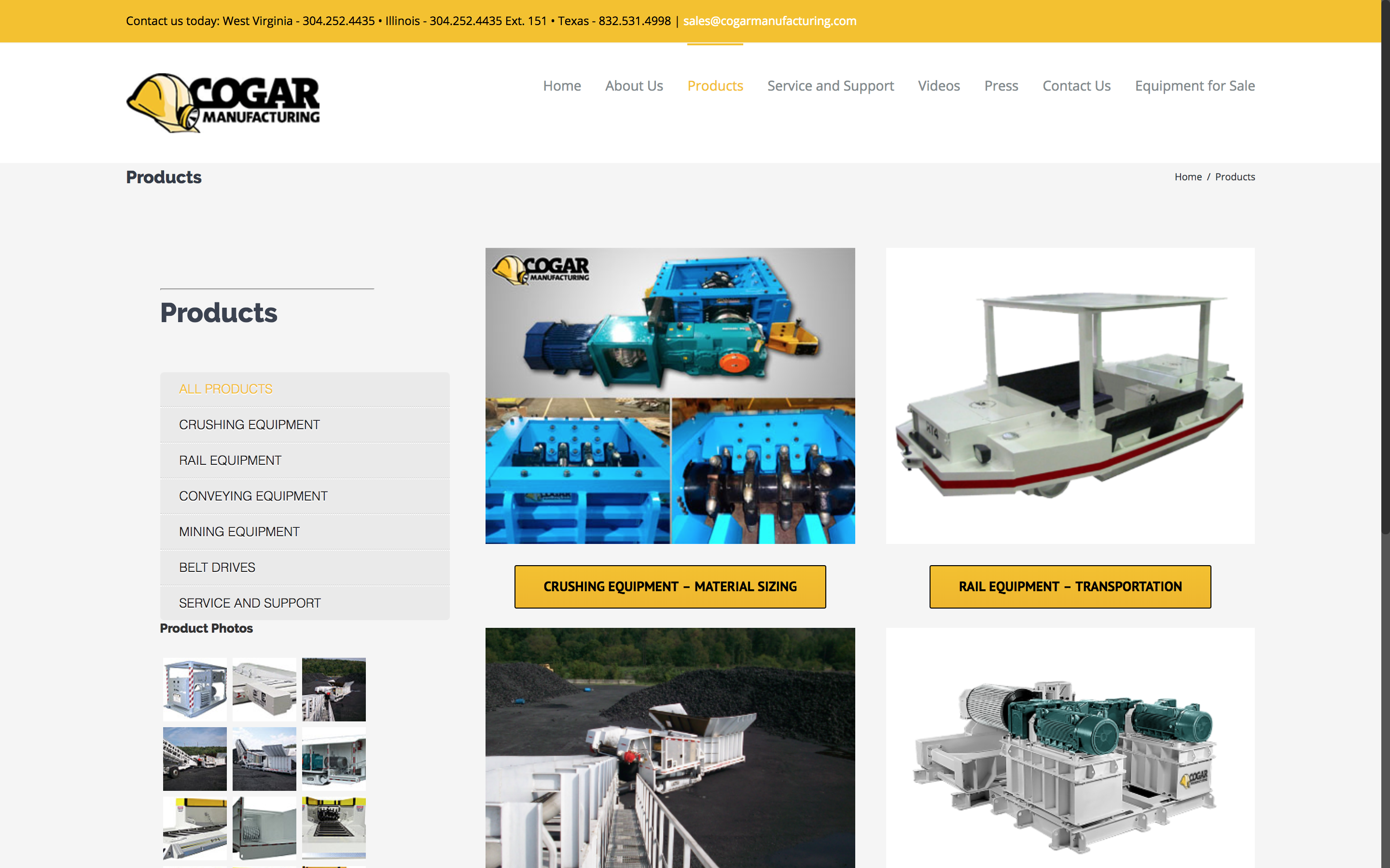 Cogar Manufacturing Products Page West Virginia Web Design by Cucumber and Company Best websites in WV