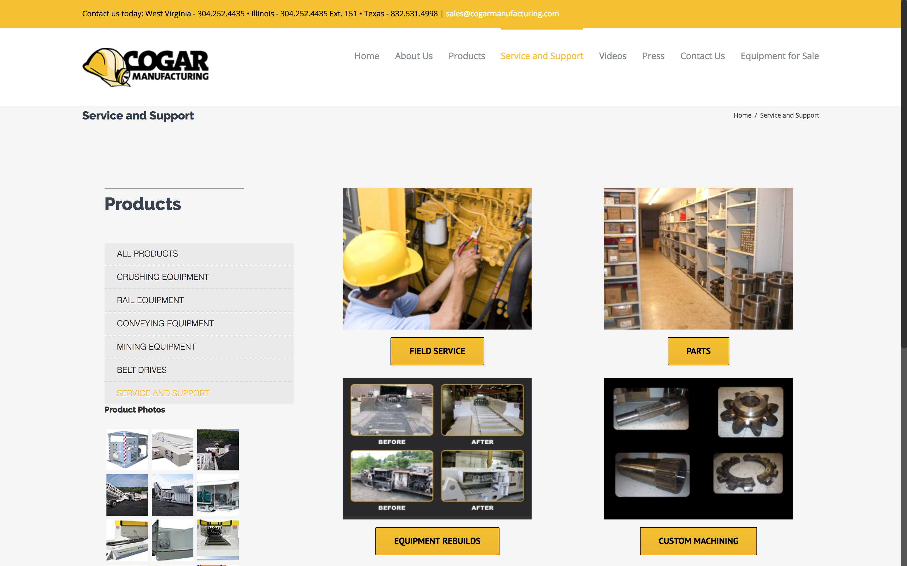 Cogar Manufacturing Service and Support Page Web Design by Cucumber and Co Best websites in WV