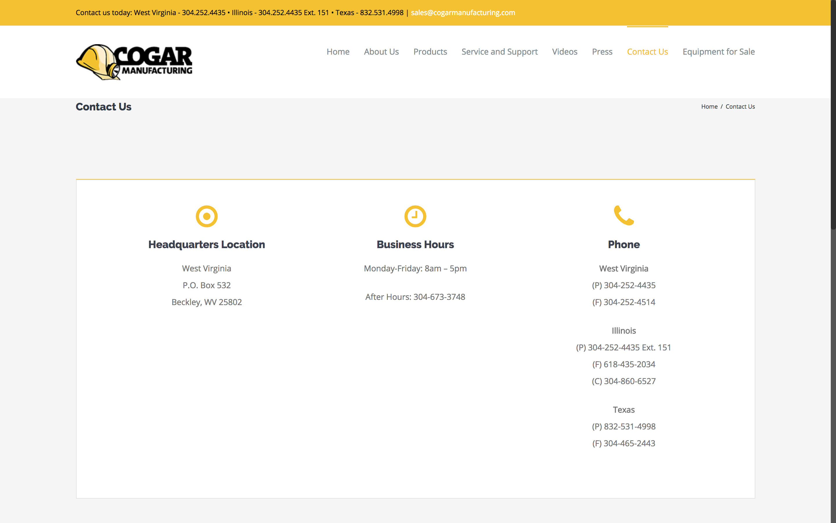 Cogar Manufacturing Contact Us Page Web Design by Cucumber and Co Best websites in WV