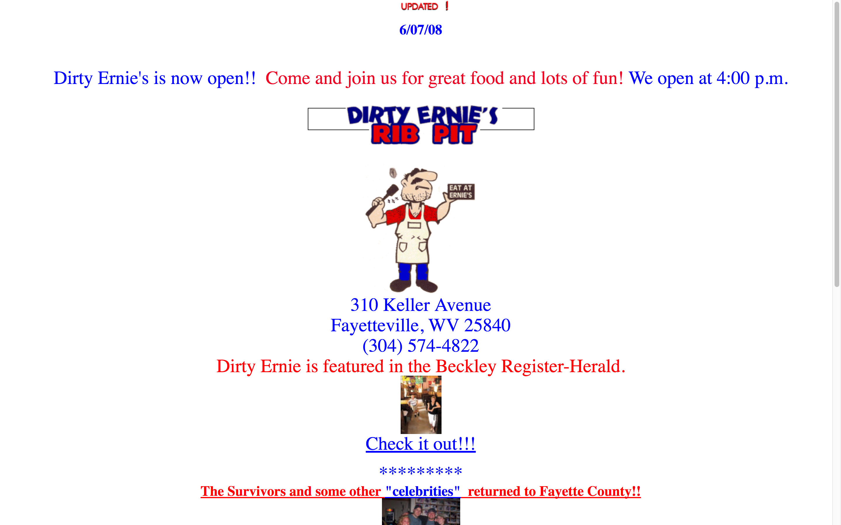 Dirty Ernie's Rib Pit BBQ Website before using Cucumber & Company Fayetteville WV Web Design