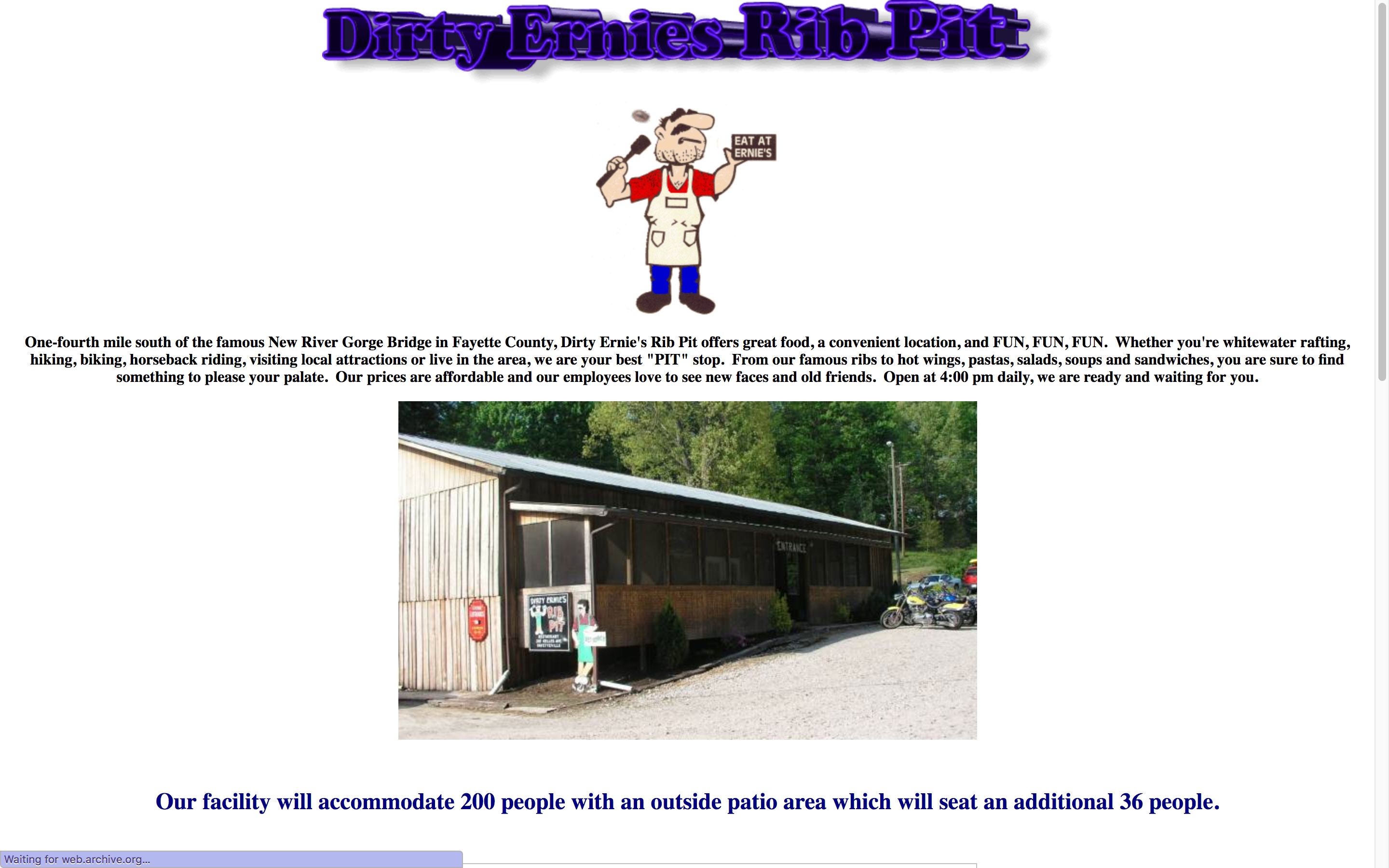 Dirty Ernie's Rib Pit BBQ Home Page Before Using Cucumber and Co Fayetteville WV Web Design