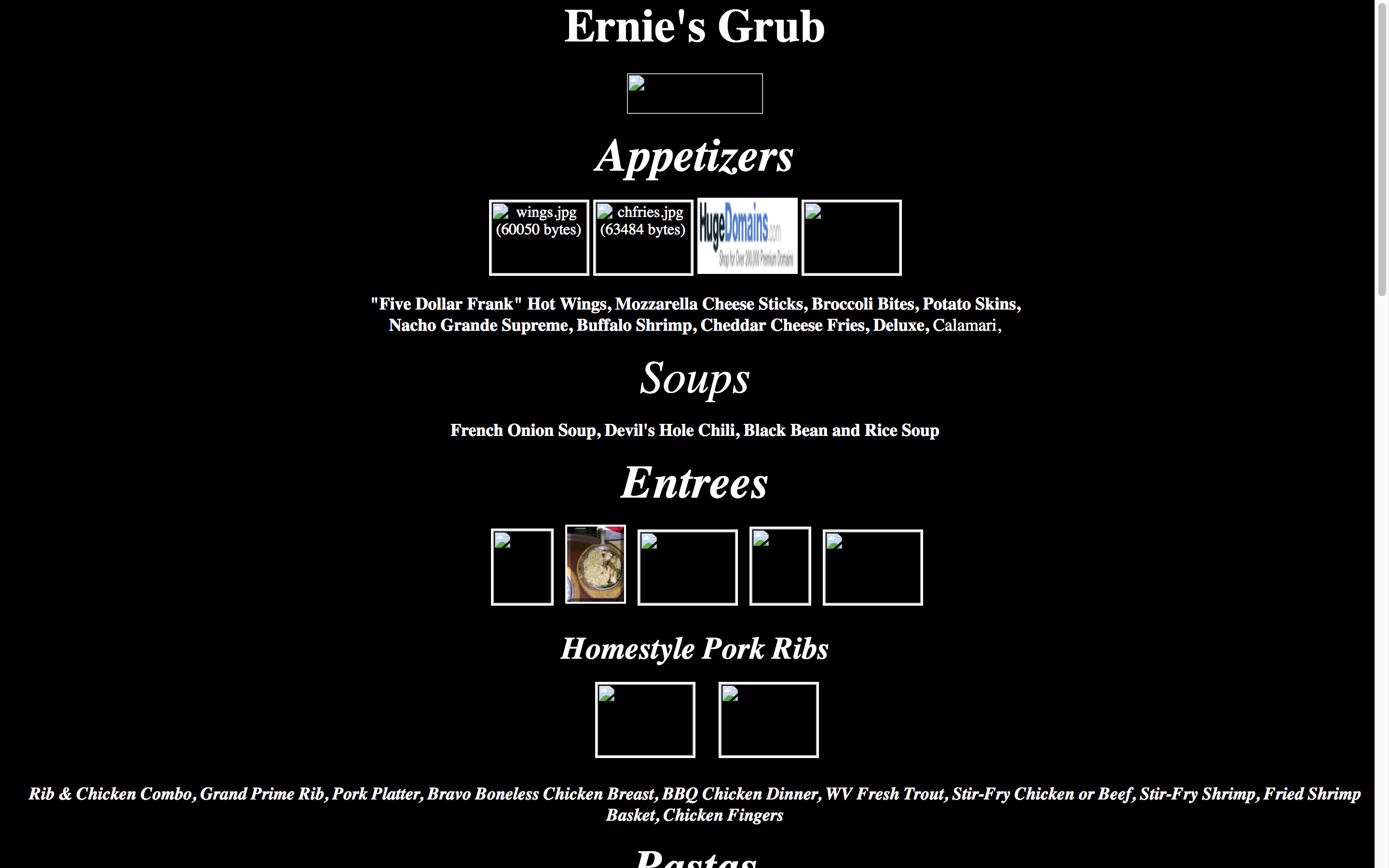Dirty Ernie's BBQ Menu Page Before using Cucumber and Co