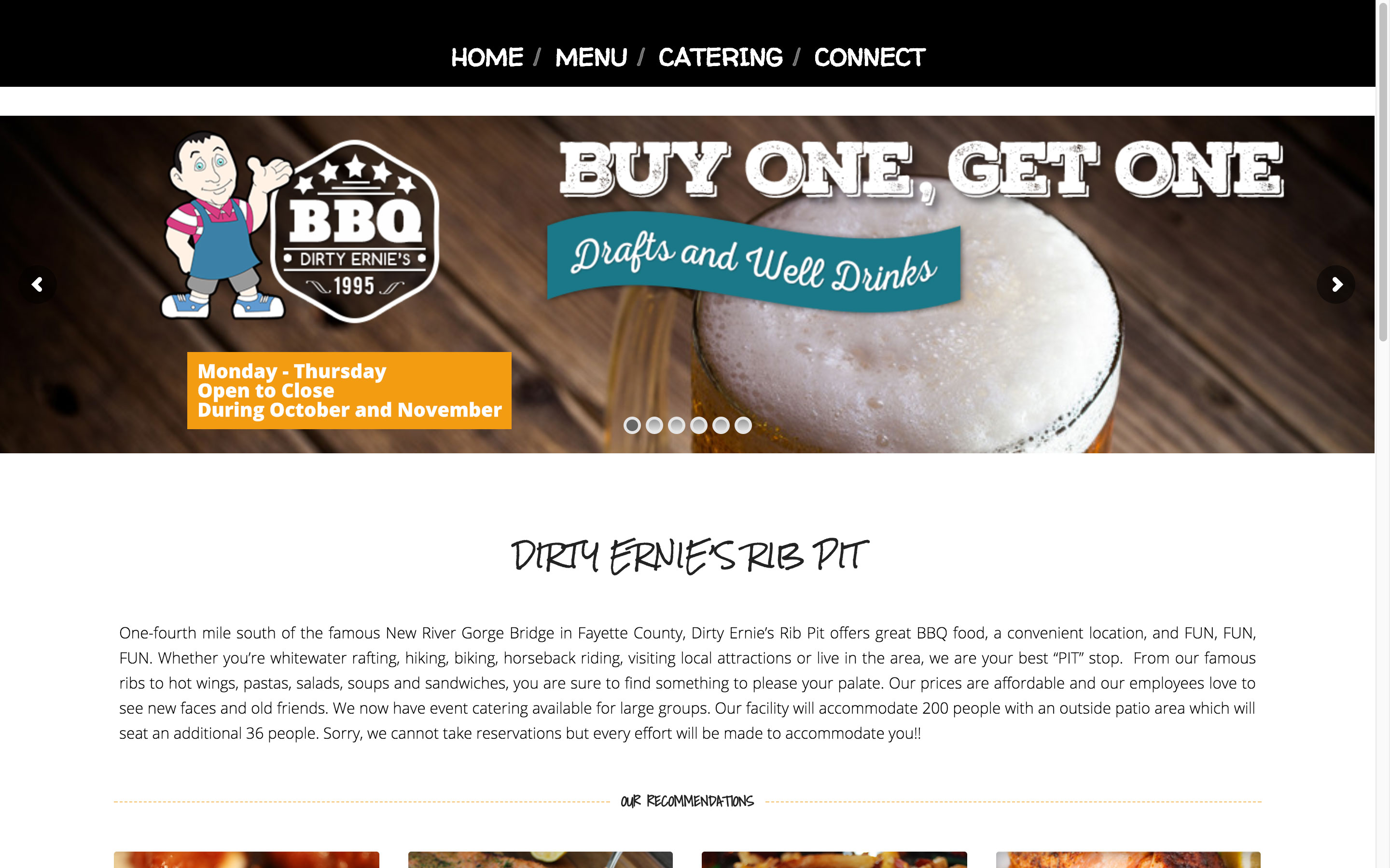 Dirty Ernie's Rib Pit BBQ Home Page Website by Cucumber and Company Best Websites in WV Beckley Fayetteville Princeton Bluefield Charleston Web Design