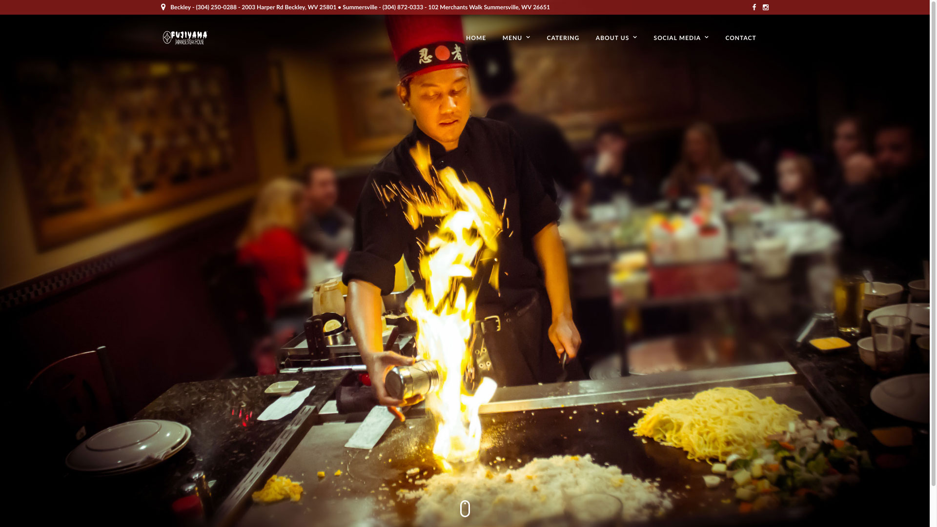 Fujiyama Japanese Steak House Home Page WV Web Design by Cucumber & Company Best Websites in WV Beckley Bluefield Princeton Huntington Charleston