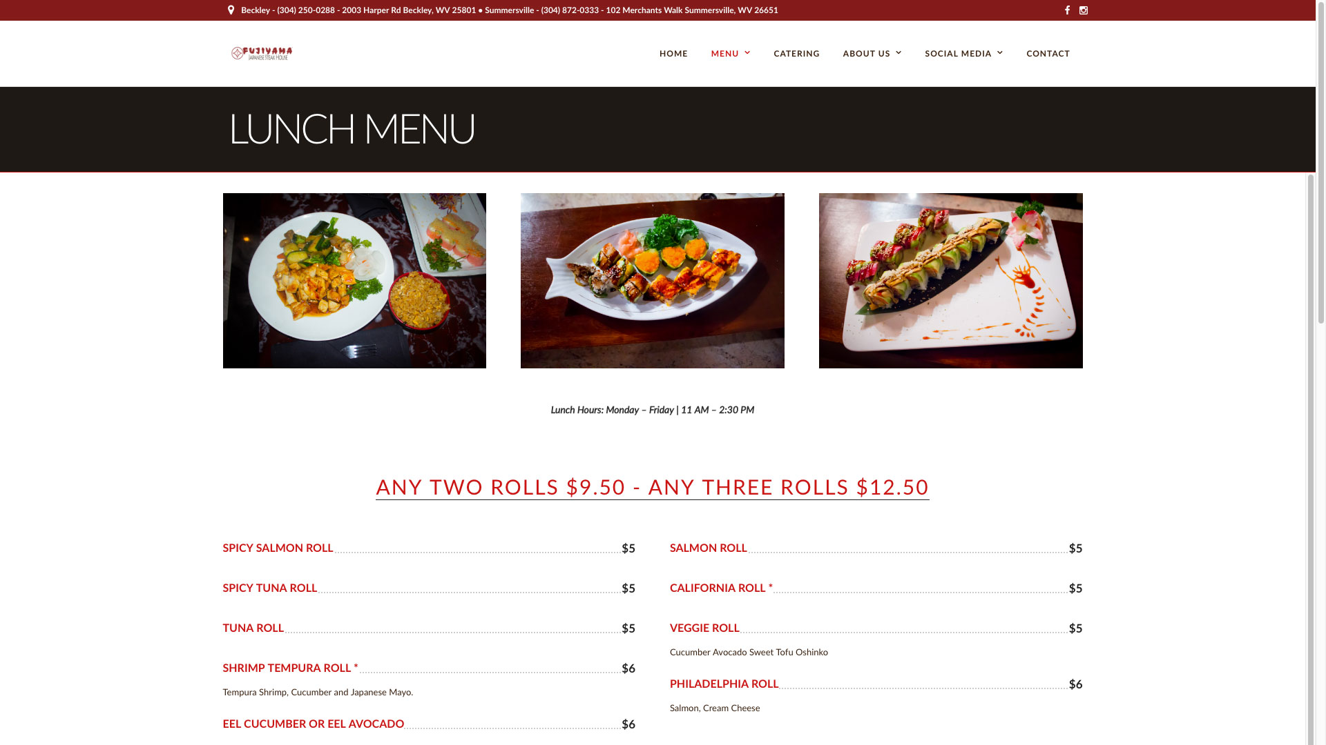 Fujiyama Japanese Restaurant Lunch Menu WV Web Design by Cucumber and Company Best Websites in WV Beckley Bluefield Princeton Huntington Charleston Website Production