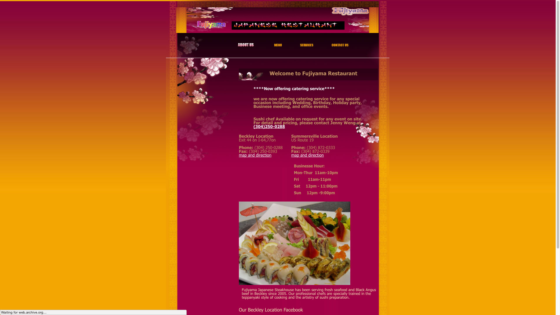 Fujiyama Japanese Restaurant About Us Page Website before using Cucumber & Co WV Web Design Beckley Princeton Bluefield Website Production