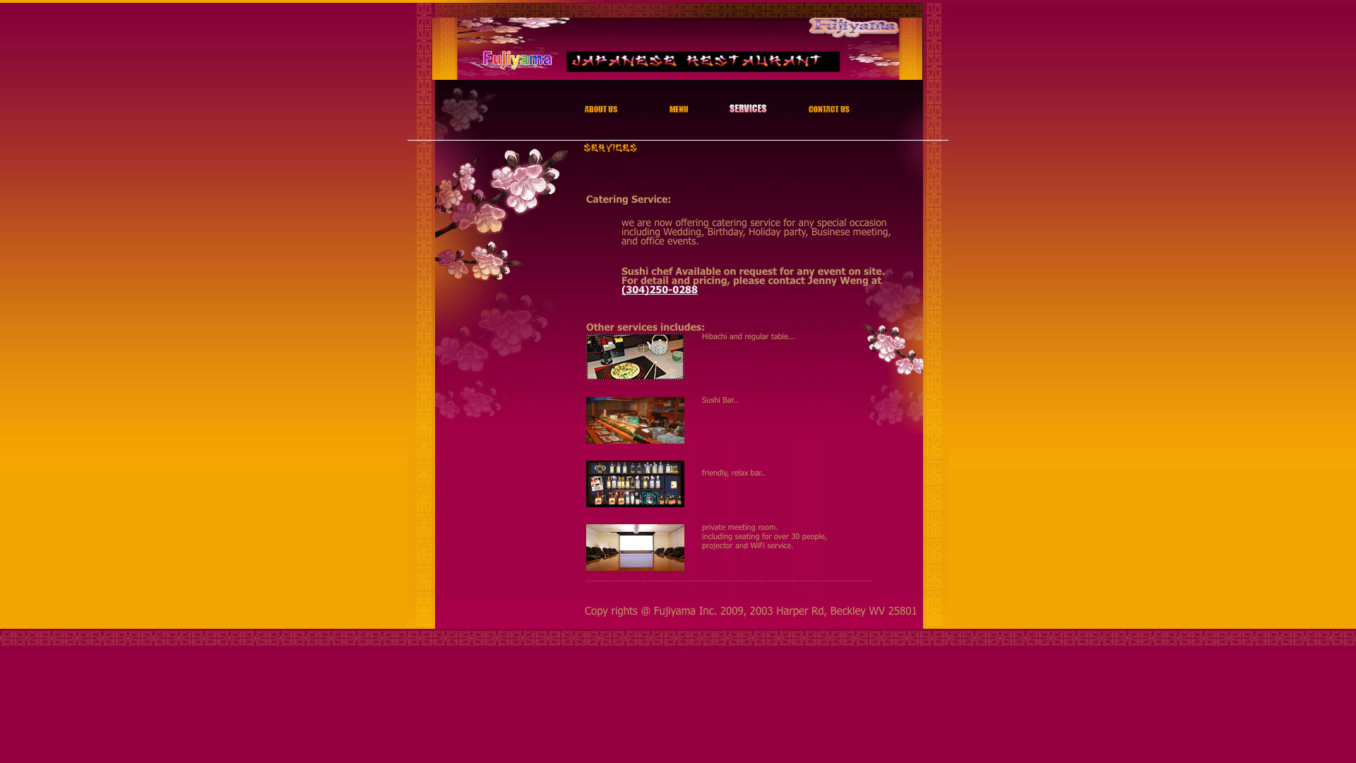 Fujiyama Japanese Restaurant Services Page Website before using Cucumber & Co WV Web Design Beckley Princeton Bluefield Website Production