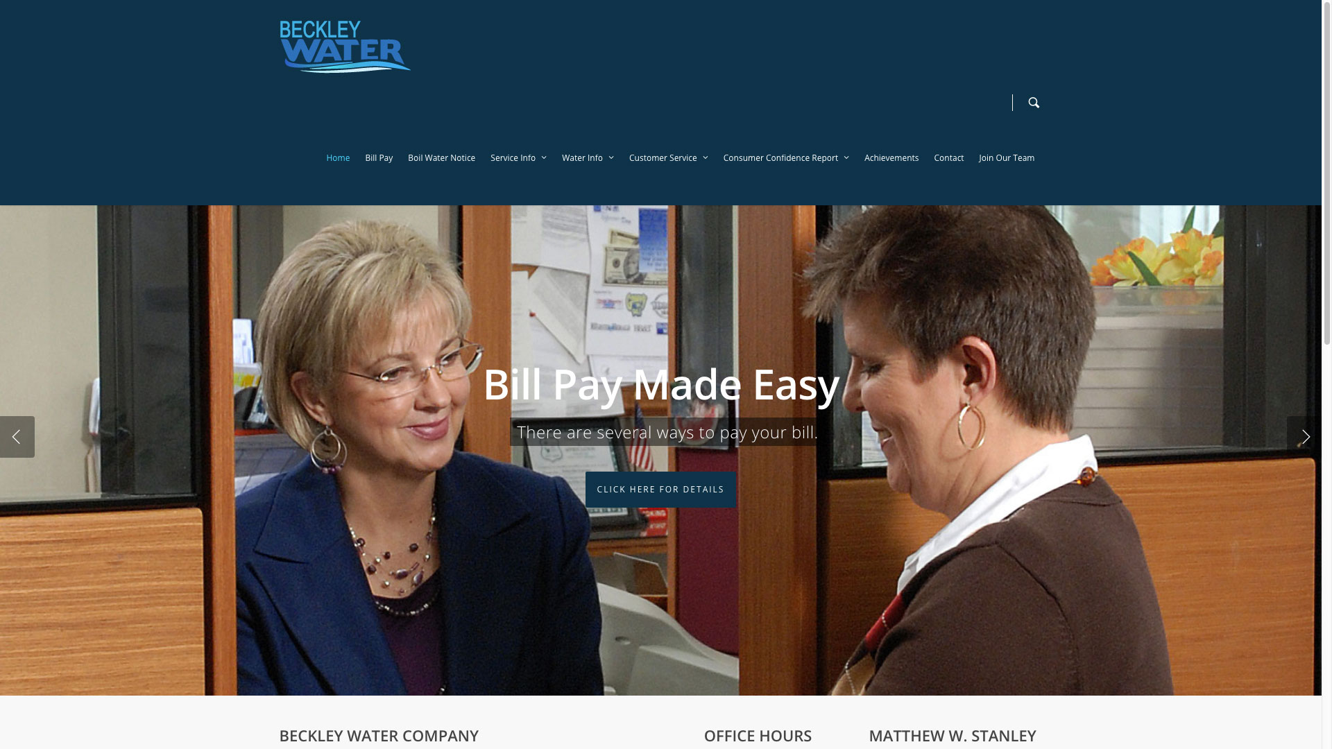 Beckley Water Company Home Page Web Design by Cucumber & Co Best Websites in WV