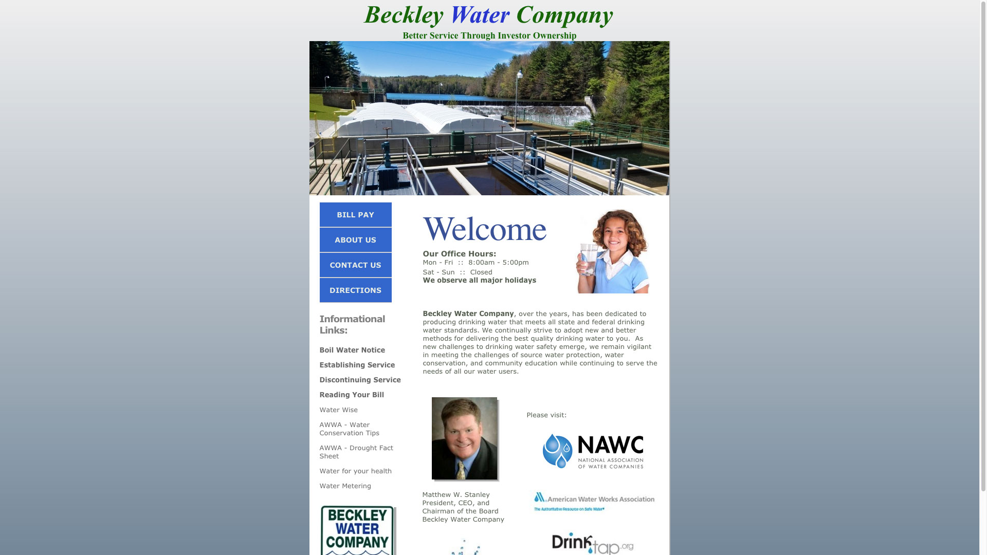 Beckley Water Company Home Page Website Before Photo Cucumber & Co WV Web Design