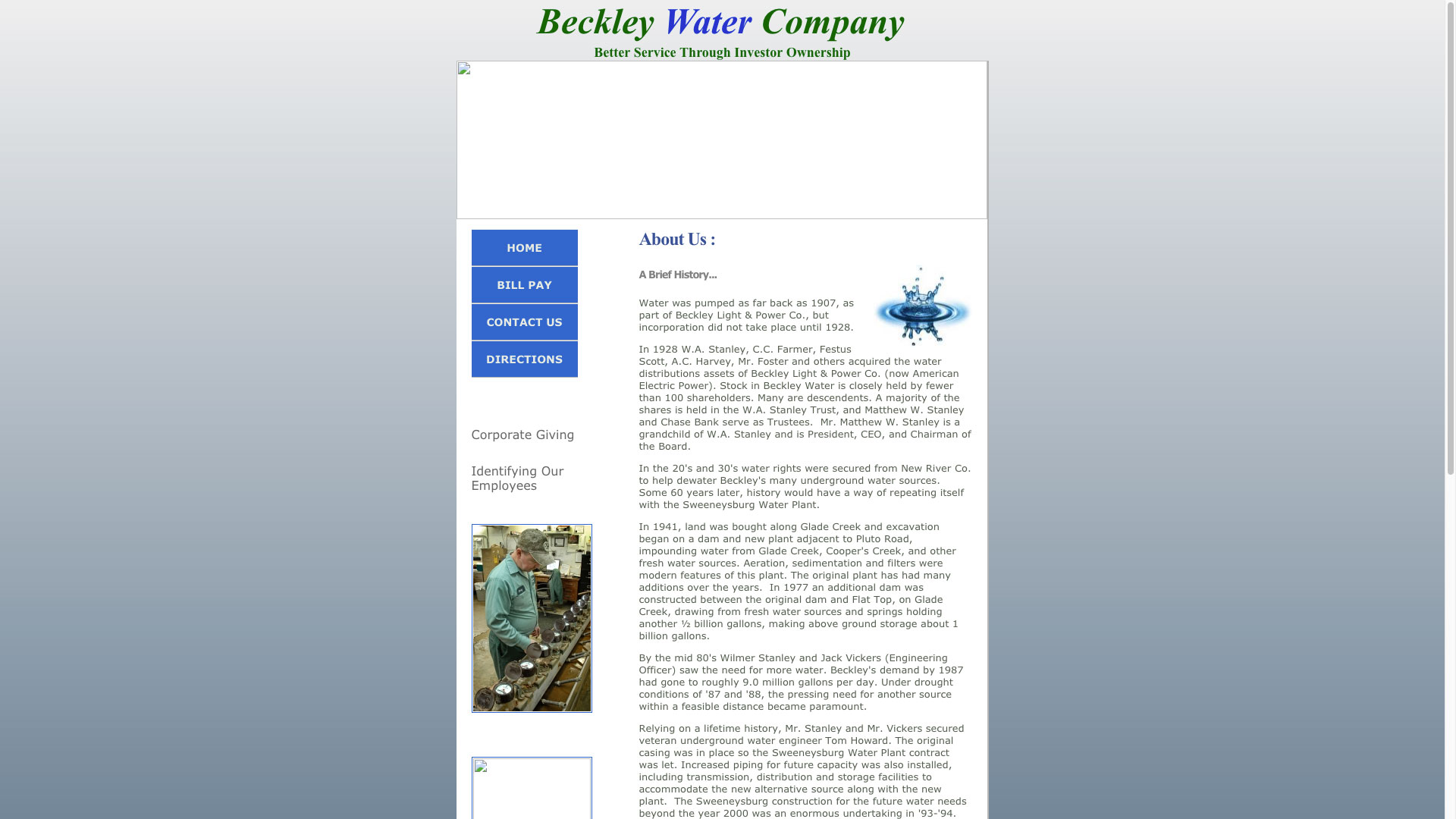 Beckley Water Company About Us Page Website Before Photo Cucumber & Co WV Web Design
