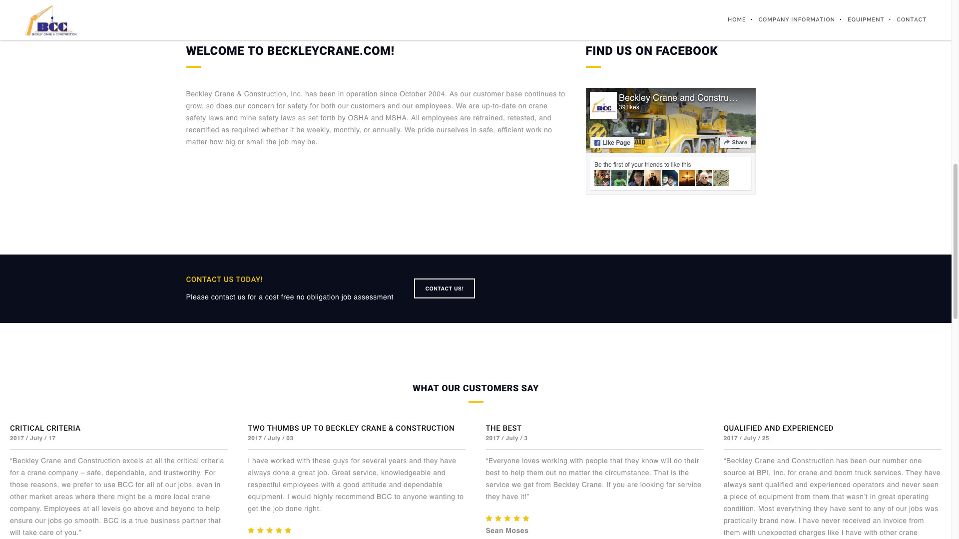 Beckley Crane & Construction Website by Cucumber and Co Best Websites in WV