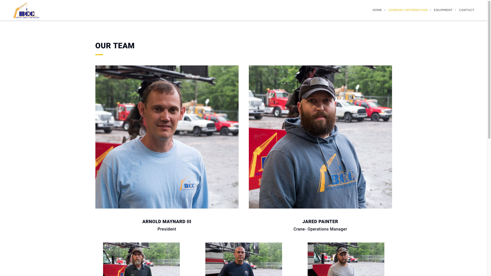 Beckley Crane & Construction Our Team Page Website by Cucumber and Company Best Websites in WV