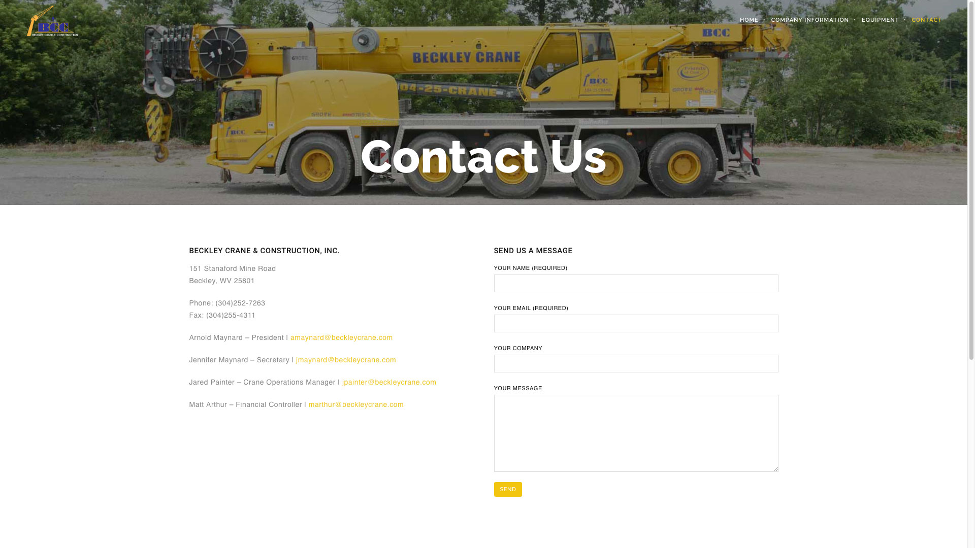 Beckley Crane & Construction Contact Us Page Website by Cucumber and Company Best Websites in WV