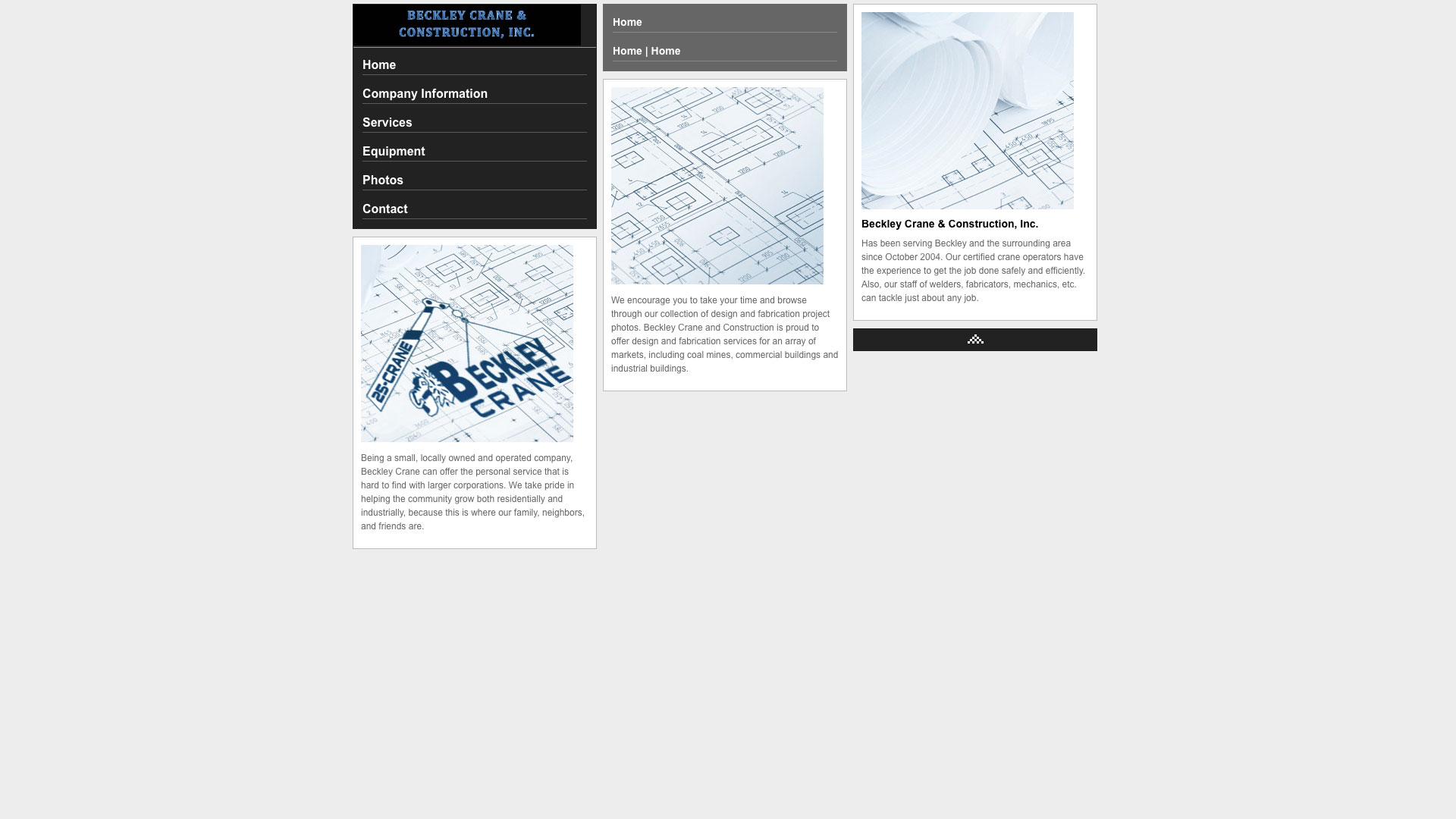 Beckley Crane & Construction Home Page Website before using Cucumber & Co WV Web Design