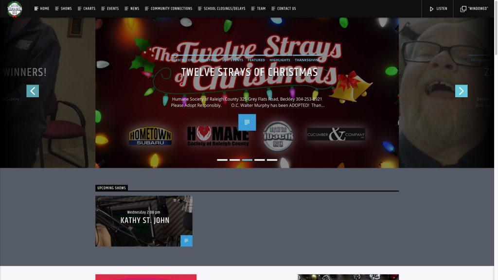 103CIR Radio Twelve Strays of Christmas Website by Cucumber & Company Best Websites in WV Beckley Princeton Bluefield Web Design
