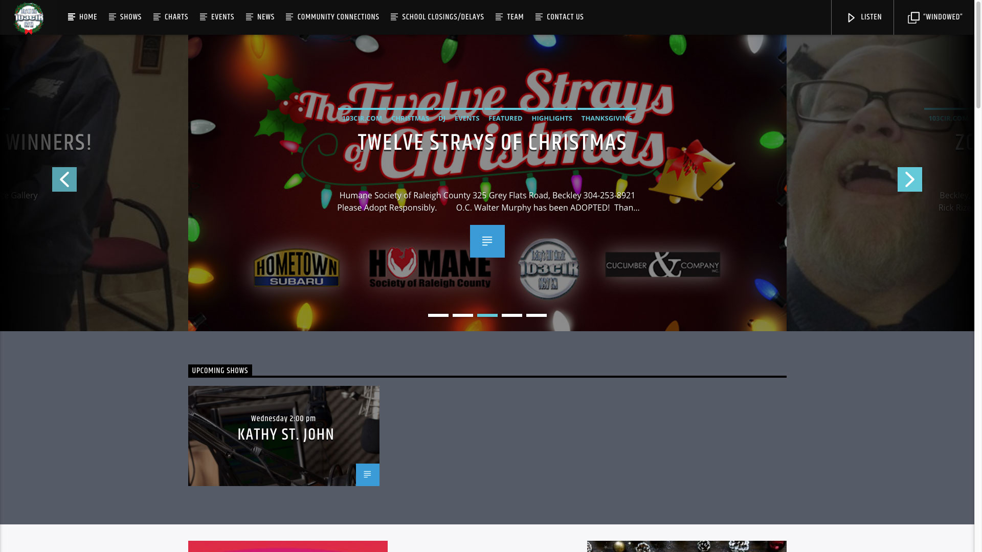 103CIR Radio Twelve Strays of Christmas Website by Cucumber & Company Best Websites in WV Beckley Princeton Bluefield Web Design