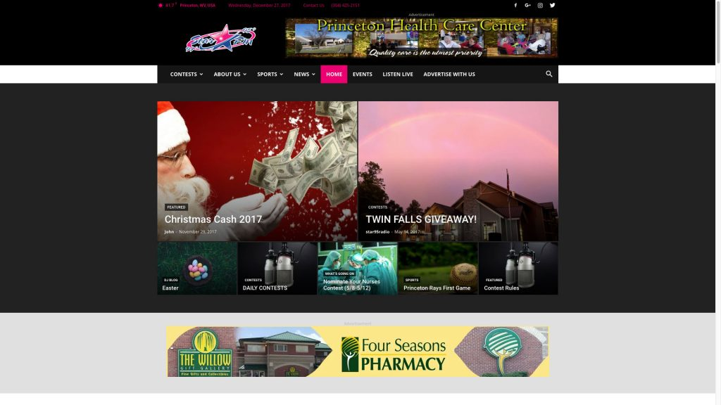 Star 95 Radio Home Page Best Websites in WV Beckley Princeton Bluefield Web Design